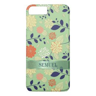 Monogrammed Floral Design Metallic Accent iPhone 8 Plus/7 Plus Case