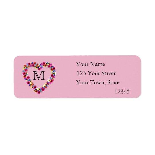 Monogrammed Floral Heart in Pink