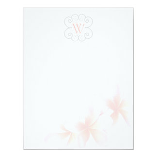 Monogrammed Floral Tropical Theme Blank Note Cards 11 Cm X 14 Cm Invitation Card