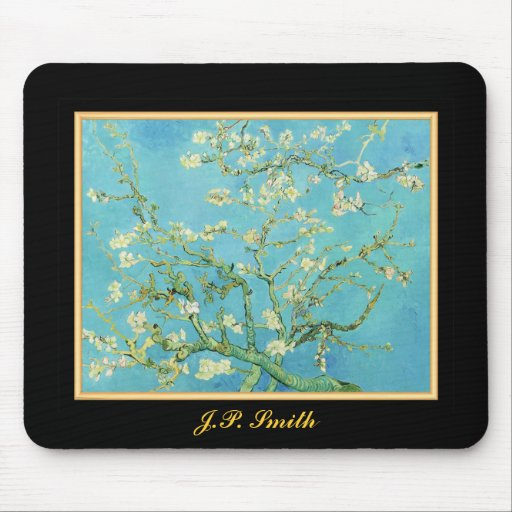Monogrammed Flower Almond Blossoms Green Cream Mouse Pads