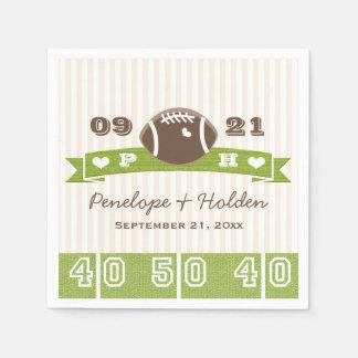Monogrammed Football Wedding Paper Serviettes