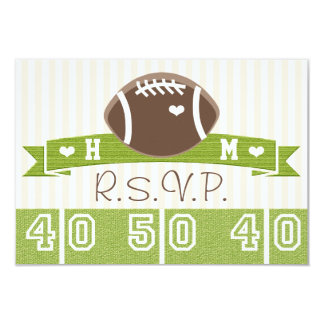 MONOGRAMMED FOOTBALL WEDDING RESPONSE CARDS 9 CM X 13 CM INVITATION CARD
