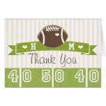 MONOGRAMMED FOOTBALL WEDDING THANK YOU NOTE CARD