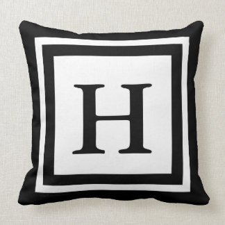 Monogrammed Front & Back - Black & White Cushion