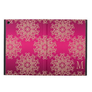 MONOGRAMMED FUCHSIA AND GOLD INSIAN PATTERN iPad AIR CASES