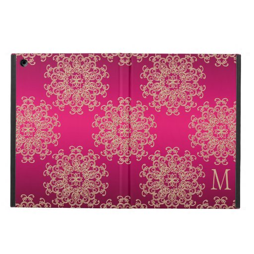 MONOGRAMMED FUCHSIA AND GOLD INSIAN PATTERN COVER FOR iPad AIR