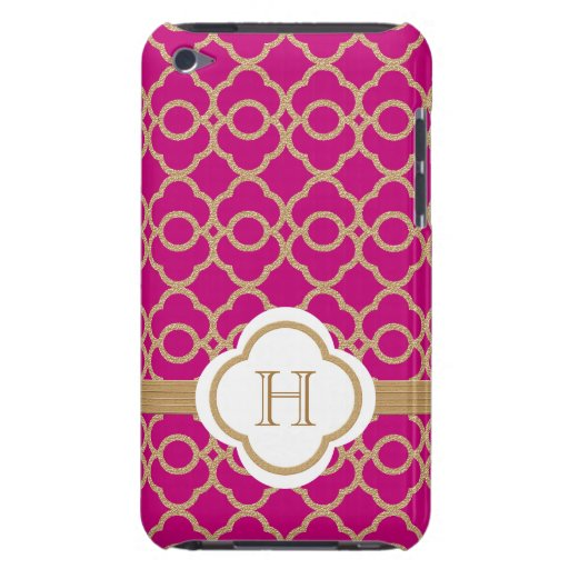 Monogrammed Fuchsia Gold Moroccan iPod Touch Cases