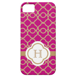 Monogrammed Fuchsia Pink Gold Moroccan iPhone 5 Case