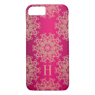 Monogrammed Fucshia and Gold Exotic Medallion iPhone 7 Case