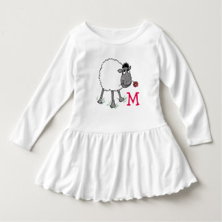 Monogrammed Fun Silly Sheep with Red Flower Dress