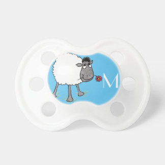 Monogrammed Fun Silly Sheep with Red Flower Dummy