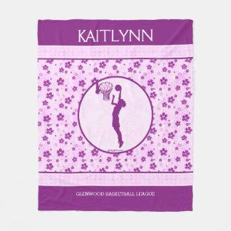 Monogrammed Girl's Basketball Purple Heart Floral Fleece Blanket