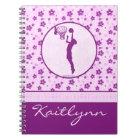 Monogrammed Girl's Basketball Purple Heart Floral Notebook
