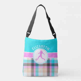 Monogrammed Girl's Soccer Summer Tartan Crossbody Bag