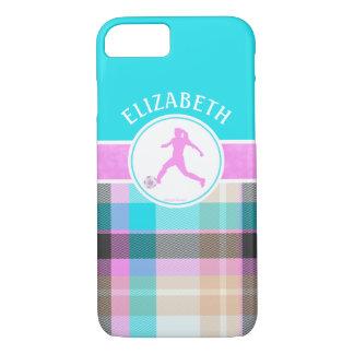 Monogrammed Girl's Soccer Summer Tartan iPhone 7 Case
