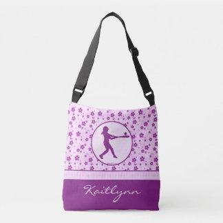 Monogrammed Girl's Softball Purple Hearts Floral Crossbody Bag