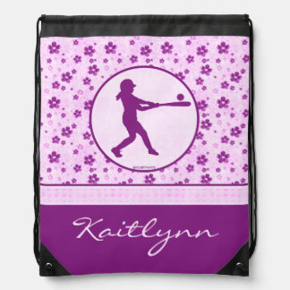 Monogrammed Girl's Softball Purple Hearts Floral Drawstring Bag