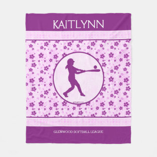 Monogrammed Girl's Softball Purple Hearts Floral Fleece Blanket