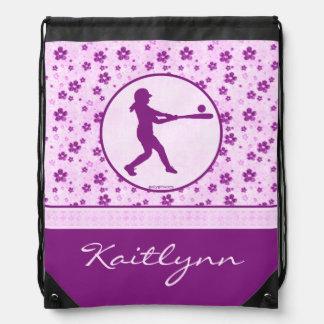 Monogrammed Girl's Softball Purple Hearts Floral Rucksack