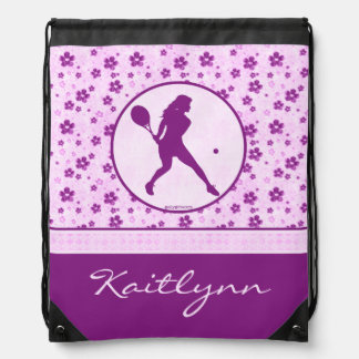 Monogrammed Girl's Tennis Purple Heart Floral Drawstring Bag