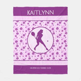 Monogrammed Girl's Tennis Purple Heart Floral Fleece Blanket