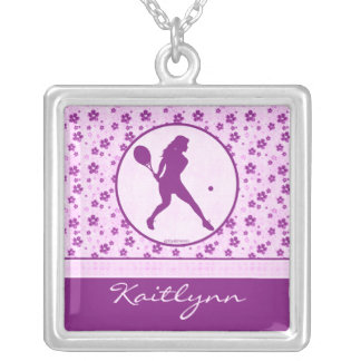 Monogrammed Girl's Tennis Purple Heart Floral Silver Plated Necklace