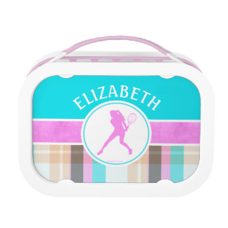 Monogrammed Girl's Tennis Summer Tartan Lunch Box