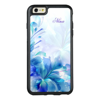 Monogrammed Girly Blue Flowers OtterBox iPhone 6/6s Plus Case