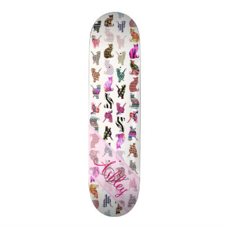 Monogrammed Girly Whimsical Cats floral stripes Skateboards