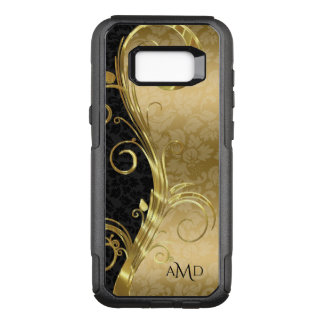 Monogrammed Gold And Black Damask With Gold Swirl OtterBox Commuter Samsung Galaxy S8+ Case