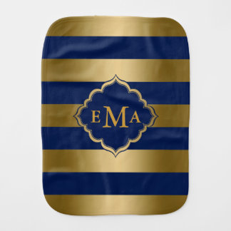 Monogrammed Gold And Blue Horizontal Stripes Burp Cloth