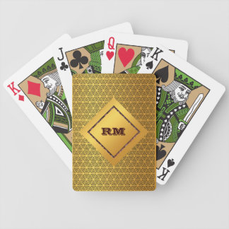 Monogrammed gold bicycle playing cards