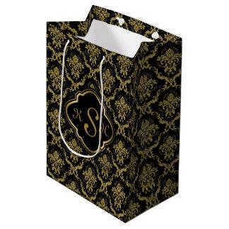 Monogrammed Gold & Black Floral Damasks Pattern Medium Gift Bag
