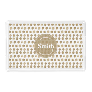 Monogrammed Gold Dots pattern Acrylic Tray