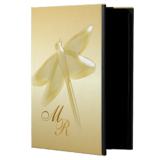 Monogrammed Gold Dragonfly iPad Air Cases