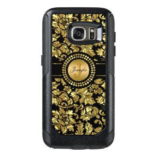 Monogrammed Gold Floral Damask Pattern OtterBox Samsung Galaxy S7 Case