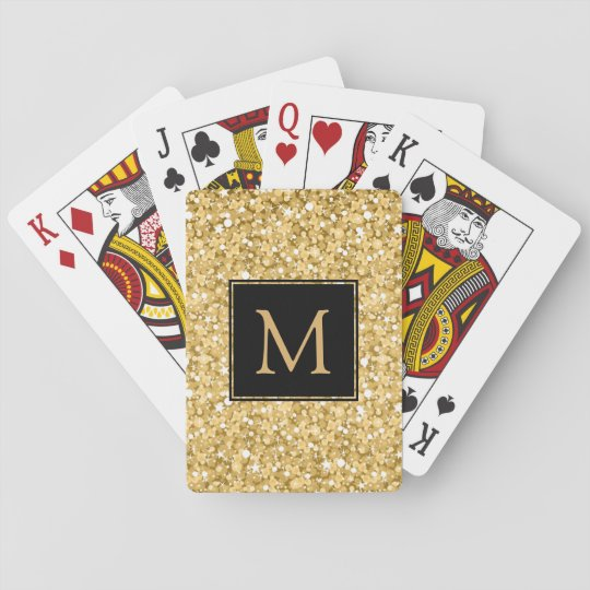 Monogrammed Gold Glitter Playing Cards