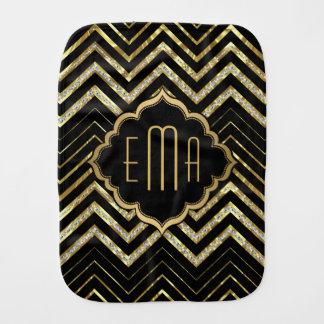 Monogrammed Gold Glitter & Zigzag Chevron Pattern Baby Burp Cloth