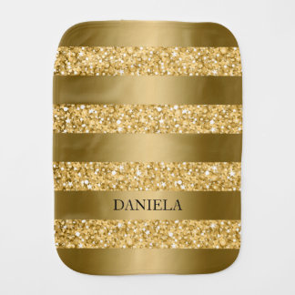 Monogrammed Gold Stripes And Glitter Burp Cloth