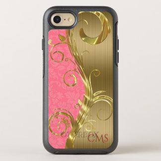 Monogrammed Gold Stripes And Pink Damask OtterBox Symmetry iPhone 8/7 Case