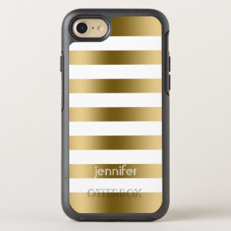 Monogrammed Gold Stripes OtterBox Symmetry iPhone 7 Case