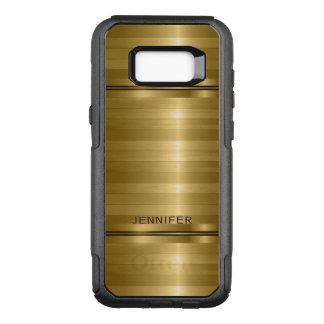 Monogrammed Gold Stripes Pattern OtterBox Commuter Samsung Galaxy S8+ Case