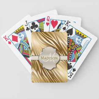 Monogrammed Gold Zebra Print Pattern Bicycle Playing Cards