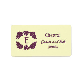 Monogrammed Grape Wine Labels