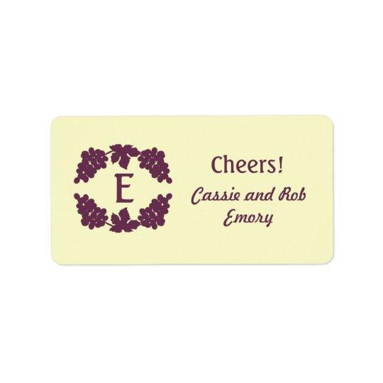 Monogrammed Grape Wine Labels