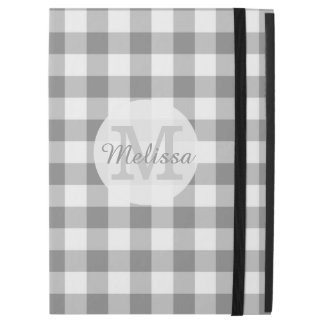 """Monogrammed Gray And White Gingham Check iPad Pro 12.9"""" Case"""