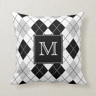 Monogrammed Gray Black and White Argyle Cushion