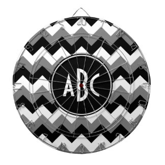 Monogrammed Gray Black and White Zigzag Dartboard