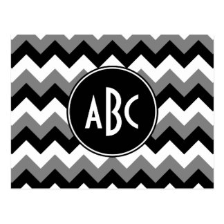 Monogrammed Gray Black and White Zigzag Postcard