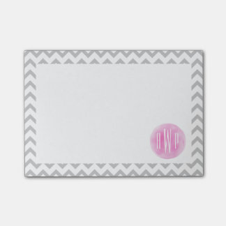 Monogrammed Gray Chevron + Pink Watercolor Post-it® Notes